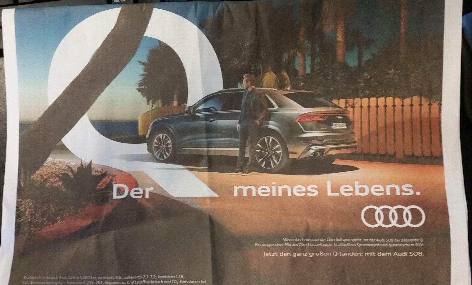 Anzeige in der Zeitung: Audi SQ8